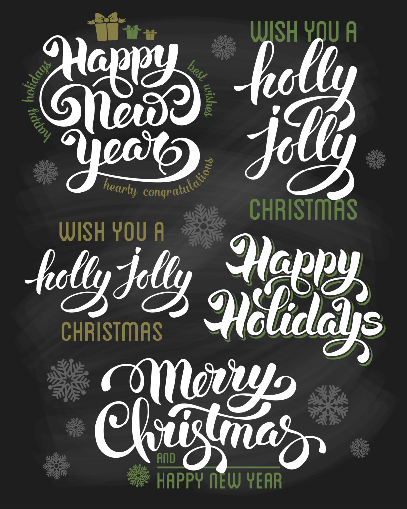 Hand drawn calligraphic letterings design set for winter holidays on chalkboard. Merry Christmas and Happy New Year. Vector illustration.